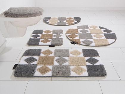 Fürdőszobaszőnyeg, álló Wc szett, Bruno Banani, »Radasta«, magasság 20mm, csúszásgátlós hátoldallal