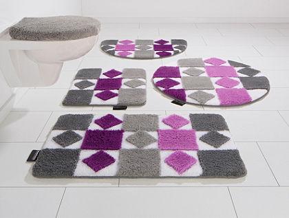 Koupelnový kobereček, souprava pro závěsné WC, Bruno Banani, »Radasta«, výška 20 mm, protiskluzová úprava