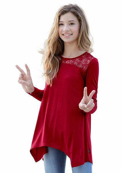 Arizona Tričko s dlhým rukávom s čipkovou vsadkou, pre dievčatá