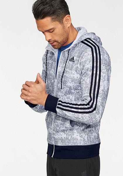 adidas Performance Mikina s kapucňou »ESSENTIALS 3S FULLZIP HOODY AOP«