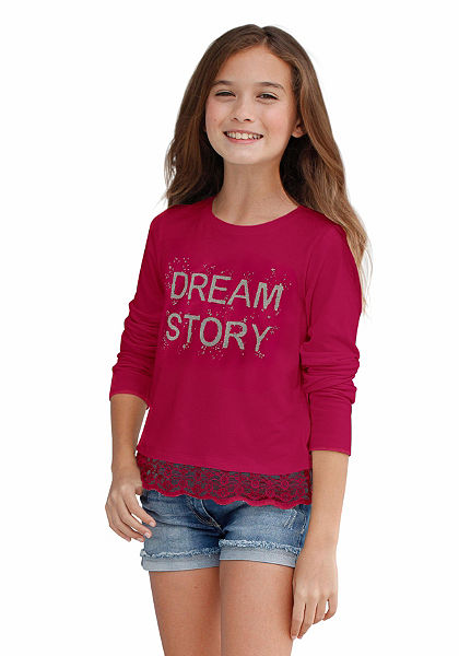 kidsworld Tričko s dlhým rukávom a lesklou potlačou, pre dievčatá