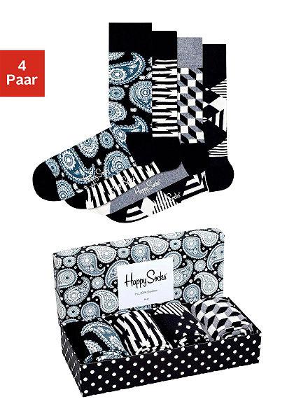 Happy Socks divatos férfi zokni (4 pár) ajándékdobozban