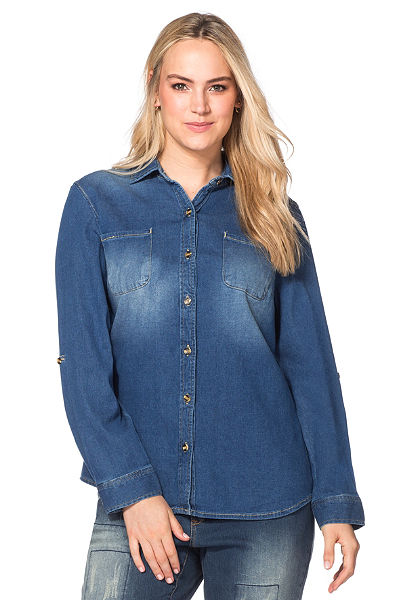 sheego Denim farmerblúz