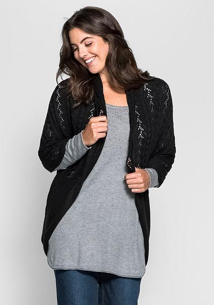 sheego Style Dlouhý pletený svetr