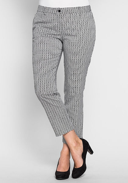 sheego Style Úzké strečové kalhoty ze saténu