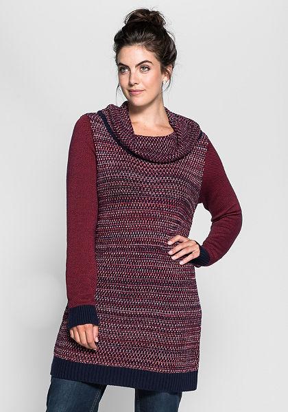 sheego Trend Dlouhý pulovr s pletením vzorem