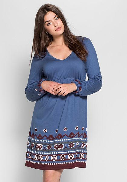 sheego Trend Pletené šaty s dlouhými rukávy