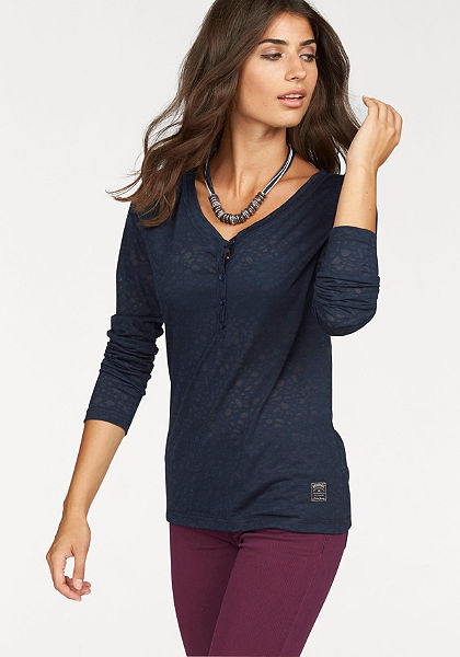 Cross Jeans® triko s dlouhým rukávem