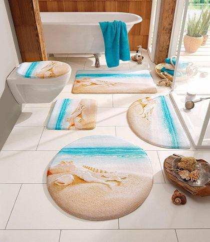 Fürdőszobaszőnyeg, my home selection, szett álló WC-hez, »Strand«, vastagság 14 mm, memória habbal